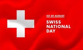 primo del vettore dell'insegna di festa nazionale di August Swiss Fotografia Stock Libera da Diritti