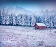 Primo gelo in paesino di montagna Fotografie Stock Libere da Diritti