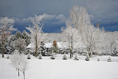 Primo giorno di neve nel paese Fotografia Stock