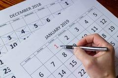 Primo giorno di segno di gennaio, iniziante nuovo anno fotografia stock
