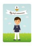 Primo invito della priorità alta del bambino di comunione con il messaggio Immagini Stock