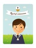 Primo invito della priorità alta del bambino di comunione con il messaggio Fotografia Stock