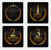 In primo luogo, secondo e terzo posto Laurel Design Label Vector Illustr Fotografia Stock