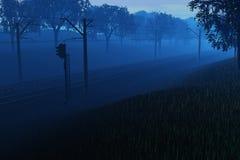 Primo mattino alla ferrovia royalty illustrazione gratis