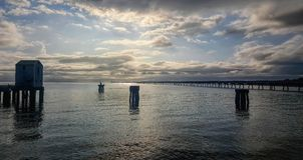 Primo mattino del molo di Lucinda fotografia stock