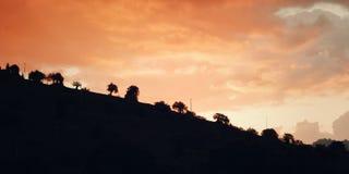 Primo mattino in Enna - effetto d'annata Retro foto di vista scenica Immagini Stock
