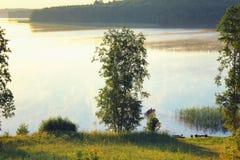 Primo mattino soleggiato sul lago Fotografia Stock