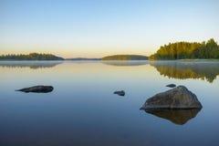 Primo mattino sul lago Fotografia Stock