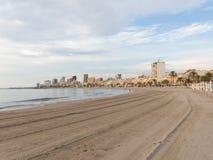 Primo mattino sulla spiaggia del EL Campello Fotografia Stock