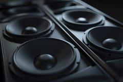 Primo piano acustico ad alta fedeltà del sistema acustico Macro colpo Immagini Stock Libere da Diritti