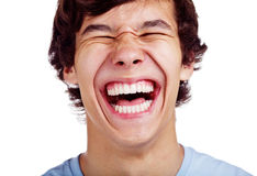 Primo piano adolescente felice di risata Immagini Stock