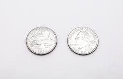 Primo piano al simbolo di stato del Nebraska sulla moneta del dollaro quarto su fondo bianco Fotografia Stock