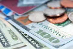 Primo piano americano delle banconote in dollari dei soldi Fotografie Stock