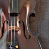 Primo piano antico del violino contro il fondo grigio del tessuto, quadrato immagine stock