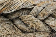 Primo piano antico della corda nel porto marittimo Fotografie Stock Libere da Diritti