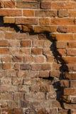 Primo piano arancio del muro di mattoni Fondo di pietra Fotografia Stock Libera da Diritti