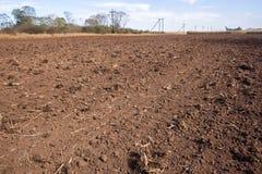 Primo piano arato del campo dell'azienda agricola Fotografia Stock Libera da Diritti