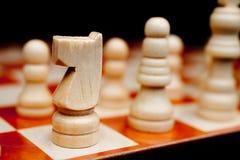 Primo piano basso del fuoco di un cavaliere di scacchi Immagine Stock Libera da Diritti