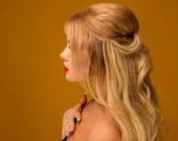 Primo piano Bella bionda con la posa lunga dei capelli Immagine Stock Libera da Diritti