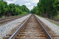 Primo piano - binari ferroviari Fotografia Stock Libera da Diritti