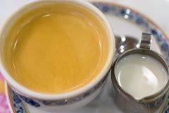 Primo piano caldo della tazza di caffè del caffè espresso dalla cima Fotografia Stock Libera da Diritti