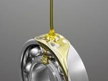 Primo piano con cuscinetto a sfera di lubrificazione sull'illustrazione grigia del fondo 3d Immagini Stock Libere da Diritti