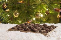 Primo piano con i dolci fatti a mano di cioccolato e dei biscotti Fotografia Stock Libera da Diritti