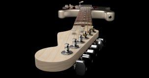 Primo piano crema della testa motrice della chitarra elettrica Immagine Stock