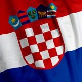 Primo piano croato della bandierina Fotografie Stock Libere da Diritti
