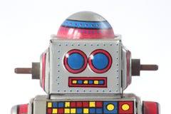 Primo piano d'annata della testa del robot della latta immagini stock libere da diritti