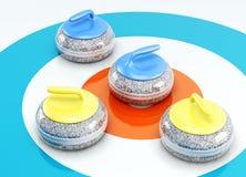 Primo piano d'arricciatura delle pietre del gioco della piastrella su ghiaccio 3d rendono i cilindri di image Fotografie Stock