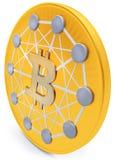 primo piano 3d della moneta dorata di Bitcoin, cripto-valuta decentralizzata Fotografia Stock
