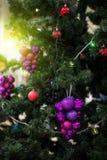 Primo piano decorato dell'albero di Natale Fotografia Stock