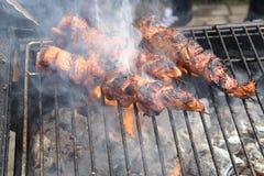 Primo piano degli spiedi della carne che sono grigliati in un barbecue Immagini Stock Libere da Diritti