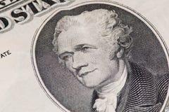 Primo piano degli Stati Uniti una nota dei dieci dollari Fotografie Stock Libere da Diritti