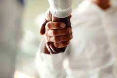 Primo piano degli uomini d'affari che agitano le mani Immagine Stock