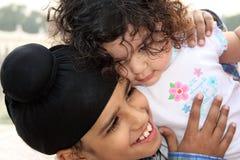 Primo piano dei bambini sikh Fotografia Stock