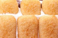 Primo piano dei biscotti di Pavesini in torta Fotografie Stock
