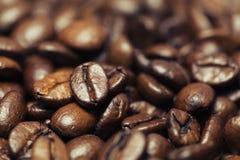 Primo piano dei chicchi di caffè con il fuoco su uno fotografie stock libere da diritti