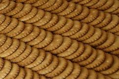 Primo piano dei cracker salati Immagine di sfondo del cracker salato classico su un tabl di legno marrone Fotografia Stock