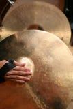 Primo piano dei Cymbals della mano Fotografia Stock