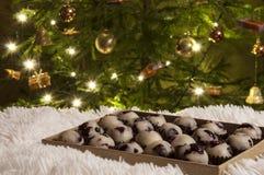 Primo piano dei dolci fatti a mano di marzapane e mirtilli rossi e fondo dell'albero di Natale Immagine Stock
