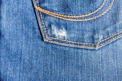 Primo piano dei jeans, vecchio, parte posteriore della tasca, parte anteriore, sgualcito, stracciata Fotografie Stock