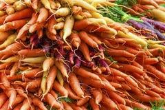 Primo piano dei mazzi variopinti di carote fotografia stock