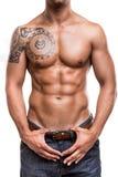 Primo piano dei muscoli addominali Immagine Stock