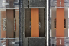 Primo piano dei nastri a cassetta Fotografia Stock