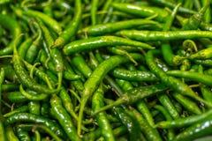 Primo piano dei peperoncini verdi freschi Fotografia Stock Libera da Diritti