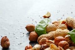 Primo piano dei pistacchi incrinati salati saporiti, delle foglie fresche del basilico e dei dadi croccanti su un fondo leggero S immagini stock libere da diritti