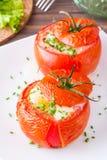 Primo piano dei pomodori freschi al forno con formaggio e l'uovo Immagini Stock