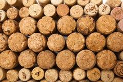 Primo piano dei sugheri usati del vino Fotografia Stock